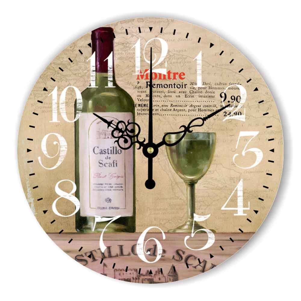 Large Glass and Wine Silent Wall Clock