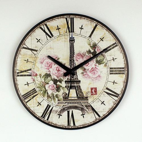 Eiffel Tower and  Vintage Rose Silent  wall clock