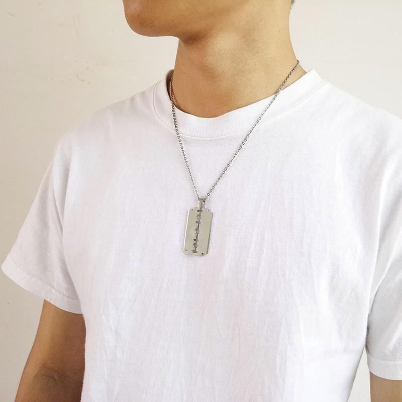 Stainless Steel Razor Blade Necklace for Men