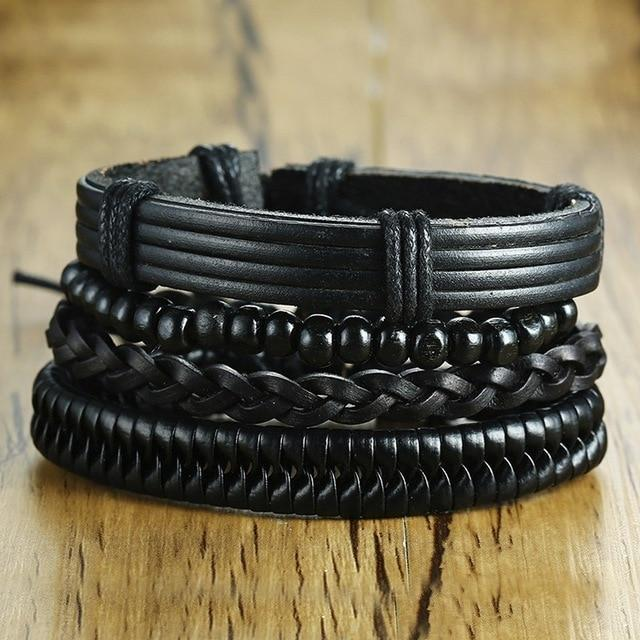 4 Pcs Leather Bracelet Set