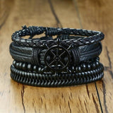 4 Pcs Genuine Leather Bracelet Set