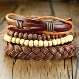4 Pcs Brown Leather Bracelet Set