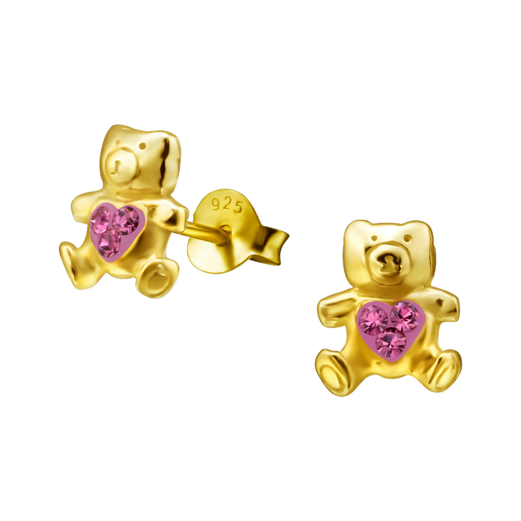14K Gold Plated  Kids Bear Earrings rose