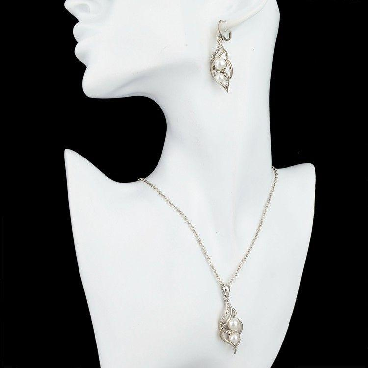 Silver Plated Pearl Necklace & Earrings Set