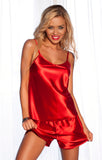 Womens Red Satin Sleepwear Set