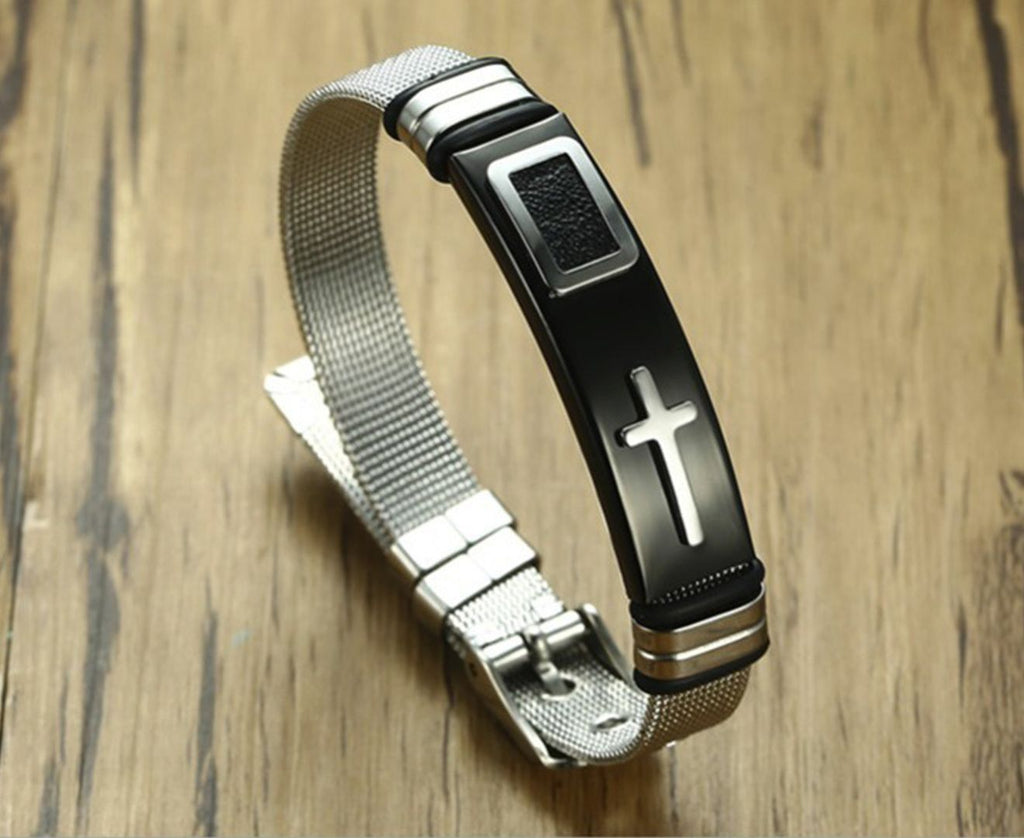 Adjustable Stainless Steel Silver Gold Cross Bracelet For Men and Women