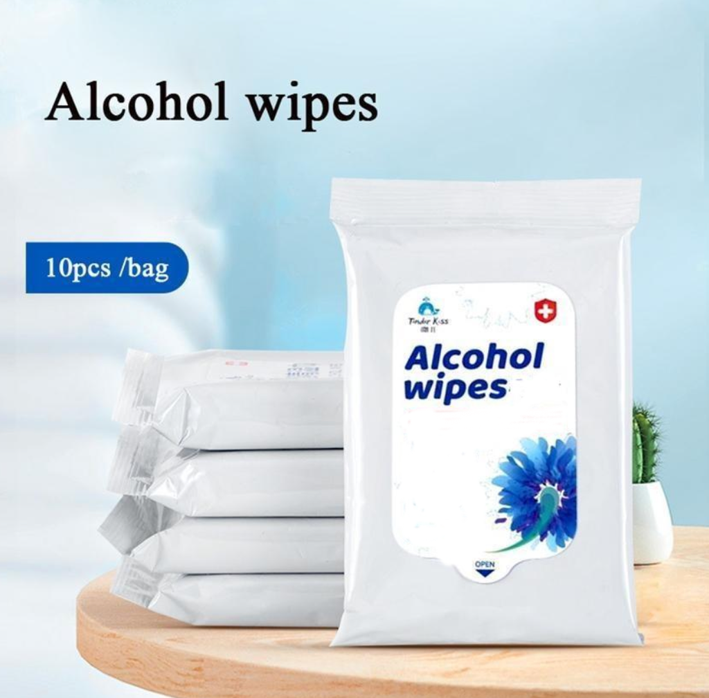 50 Pc  Alcohol Wipes Pack - 5 pack of 10 each