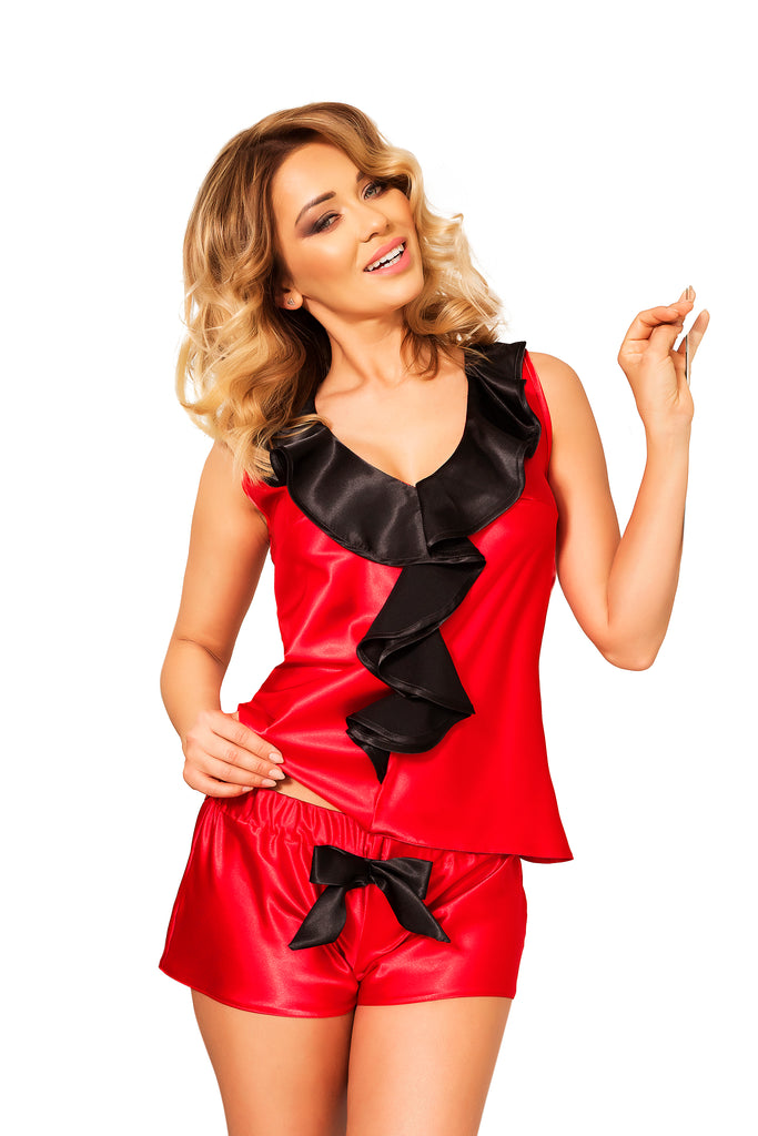 Red Satin Sleepwear with Shorts Set