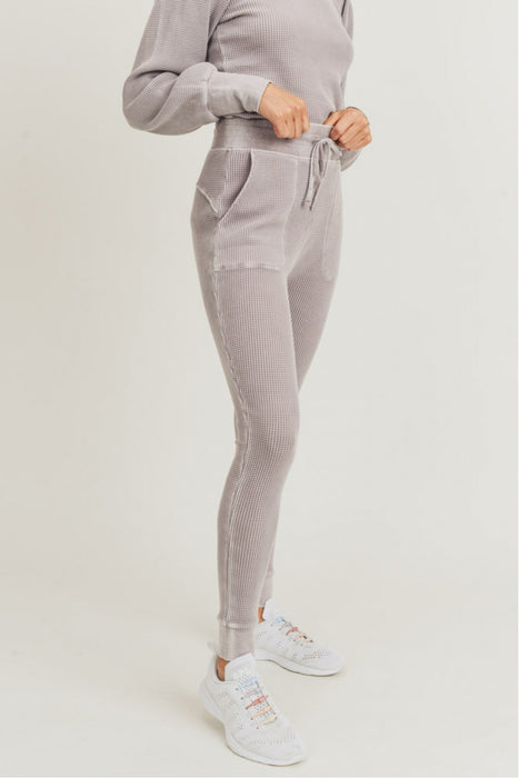 Ceaseless Skinny Waffle Joggers - Dusty Pink