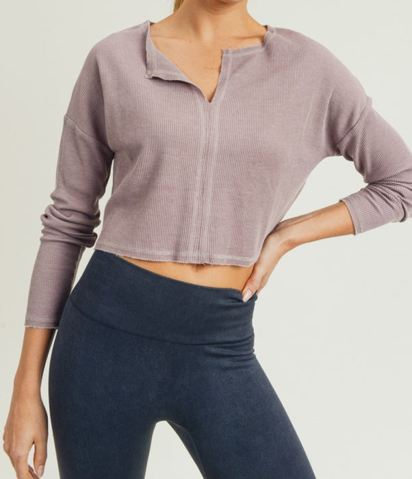 Essential Cropped Pullover Shirt - Dusty Pink