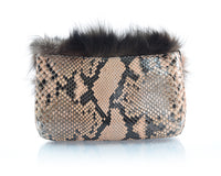 Peach Fox Fur and Python Fold-Over Clutch