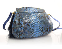 Navy Multi Fox Fur and Python Satchel