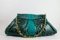 Turquoise Python Shoulder Bag