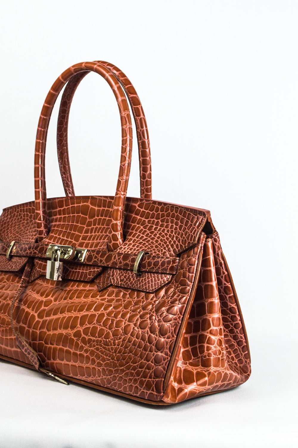 Amber Croco Lock Satchel