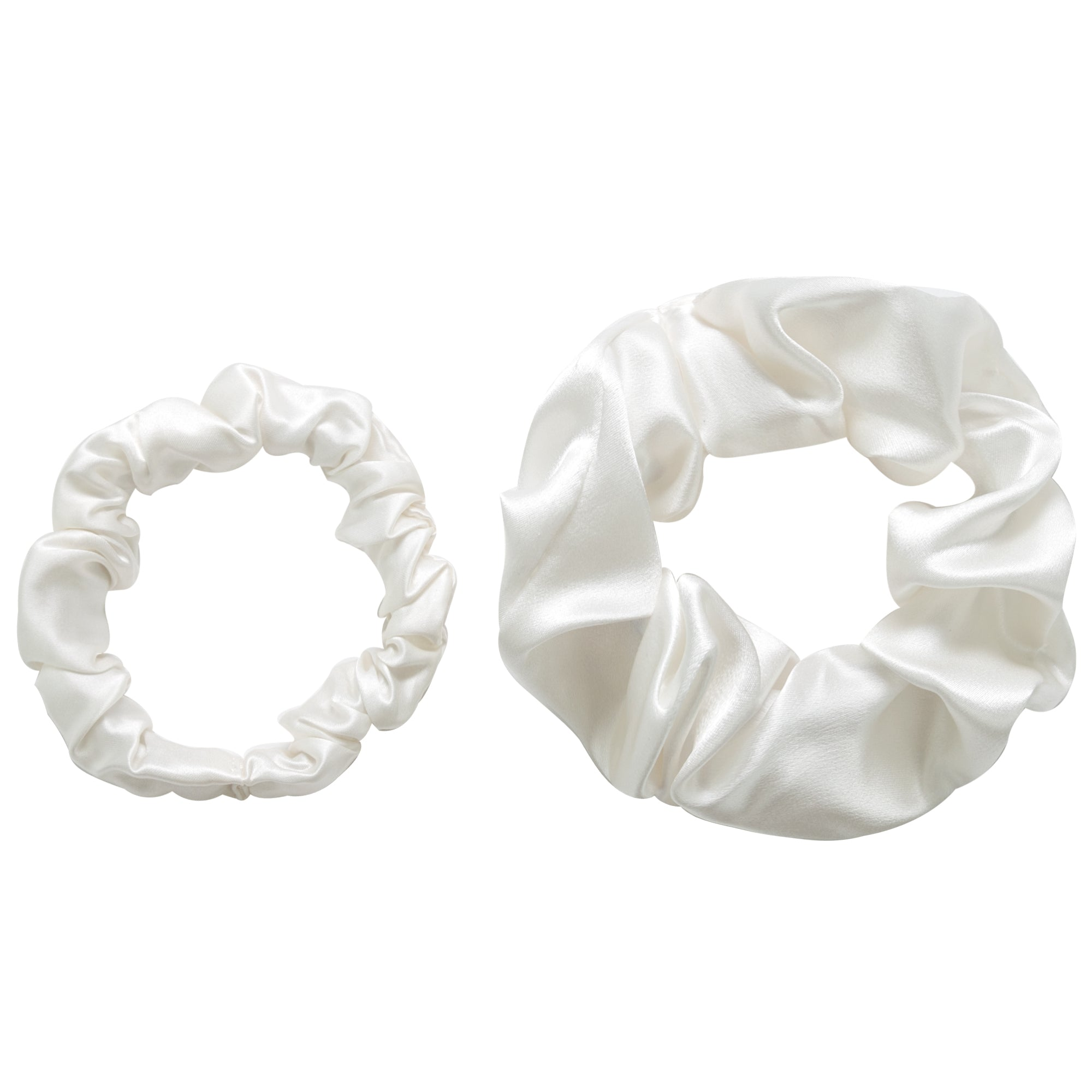 Hannah Grace Pure Silk Scrunchie Pack for hair - 1 thick 1 thin scrunchies black - Holds hair without damage, no snags, anti-pulling (Black
