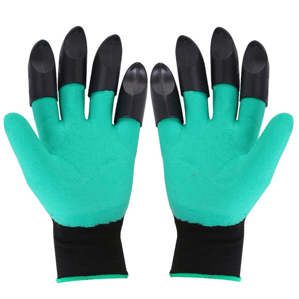 Garden Gloves with Claws 4 ABS Plastic Garden Rubber Gloves Gardening Digging Planting Durable Waterproof Work Glove Outdoor