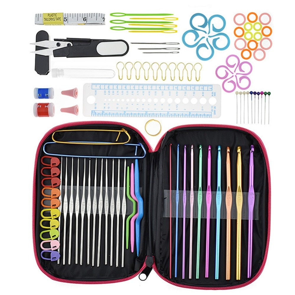 100pcs ALUMINUM CROCHET HOOKS + SEWING NEEDLES + KNITTING NEEDLES SET