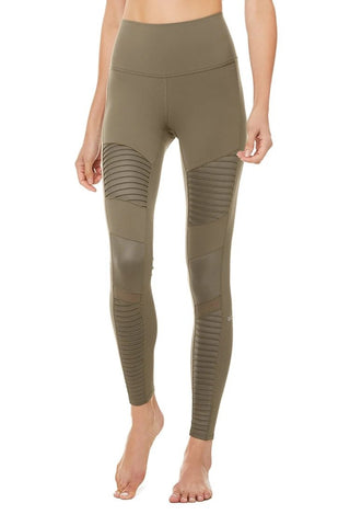 Alo Yoga High Waisted Moto Legging - Olive Branch 1 Of 10