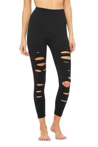 Alo Yoga High Waisted Ripped Warrior Legging Image 1 Of 4