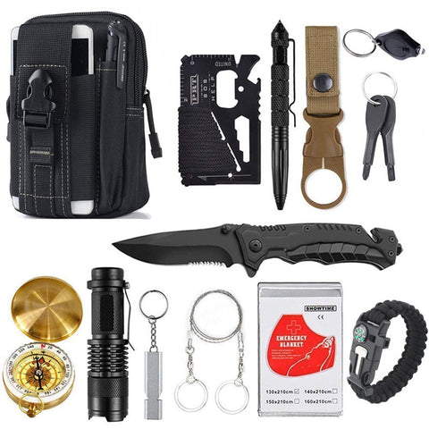 Outdoor Hunting Knife Saw Survival Kit Military Folding Knife Garget Drop shipping Camping Gear Survival kit
