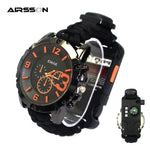 Outdoor Survival Watch Multifunctional Waterproof Military Tactical Paracord Watch Bracelet Camping Hiking Emergency EDC Gear