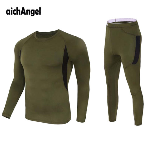 Thermal Underwear Tactical Fleec warm T shirt homme clothes Military men t-shirt Thermal Underwear Sets pullover men