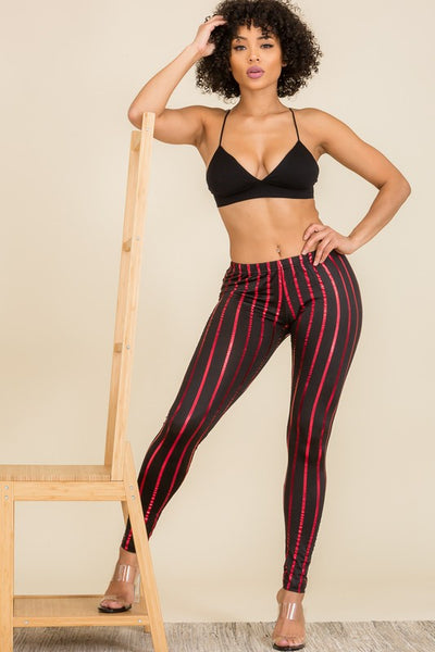 Leggings: Striped Foil Leggings