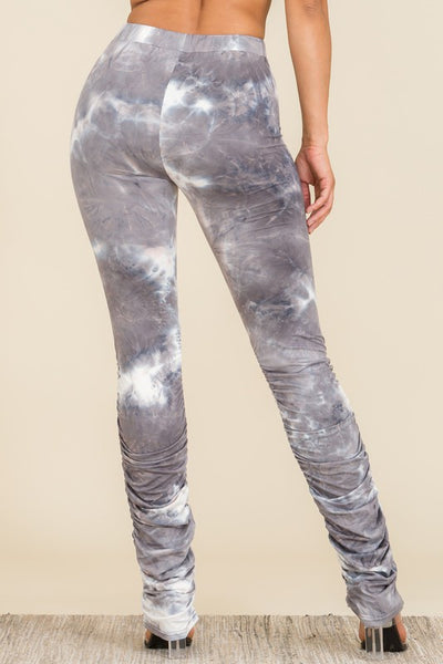 Pants: Tie Dye Stacked Pants with Waist Strap