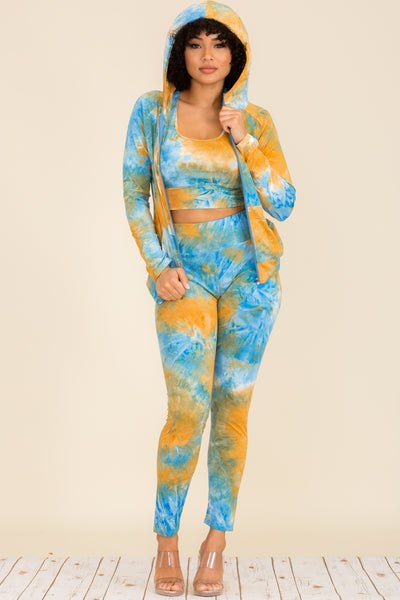 Sets: Tie Dye 3 PC Titan Set - Comfy Sports Bra with Long Sleeve Jacket and Leggings