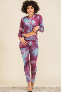 2 PC Set: Tie Dye Ametrine Hoodie with Long Pants