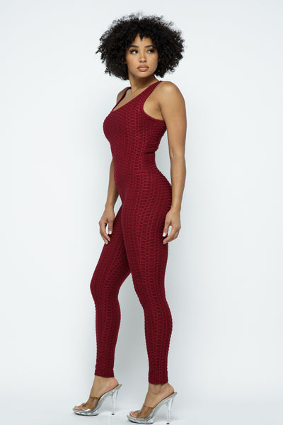 Jumpsuit: Bubble Booty Yoga Jumpsuit-Burgundy BCJS5001