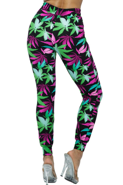 Joggers: Multi Leaves Design Jogger Pants