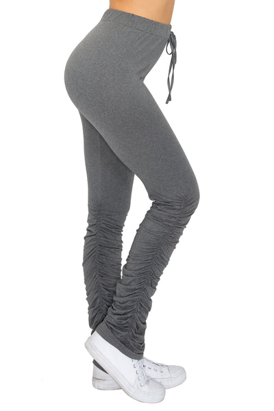 Pants: Solid Stacked Pants with Strap BCP3005