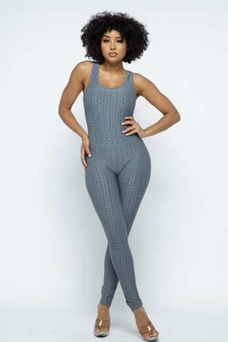 Jumpsuit: Bubble Booty Yoga Jumpsuit-Charcoal BCJS5001