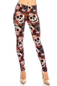 Plus Leggings: Orange Skull Design Leggings BCP(3XL-5XL)G24