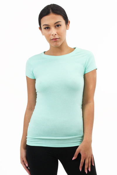 Tops: Solid Round Tee Plus