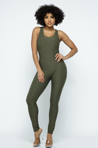 Jumpsuit: Bubble Booty Yoga Jumpsuit-Olive BCJS5001
