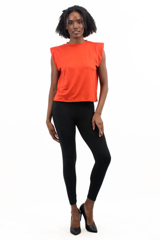 Tops: Solid Sleeveless Shirt with Shoulder Pads BCT7009