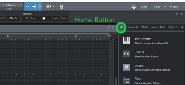 Studio One Home button