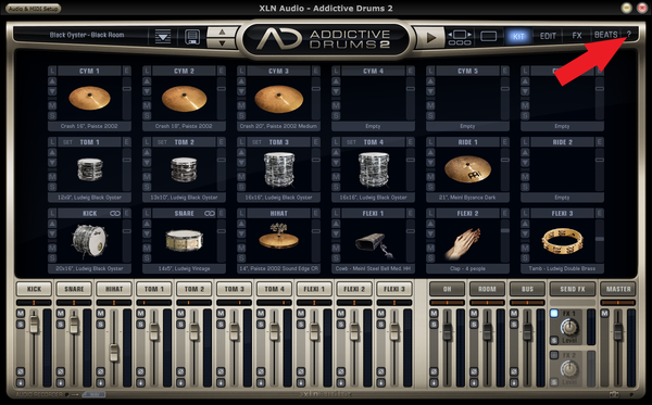 Addictive Drums Help menu