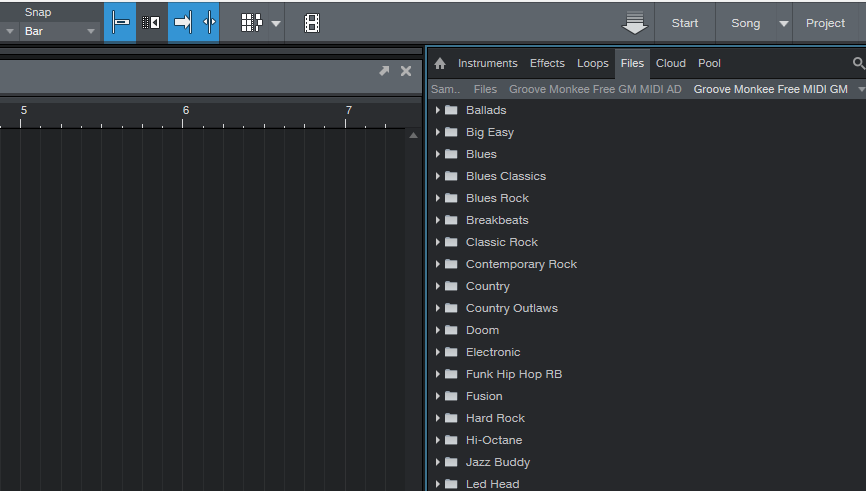 Studio One file browser