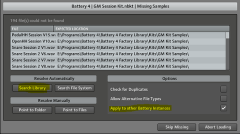 Battery 4 missing samples error