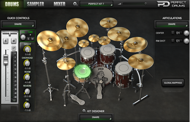 Perfect Drums interface