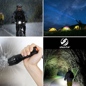 LED Ultra Bright Torch Flashlight w/ 5 Switch Modes, V6, Waterproof