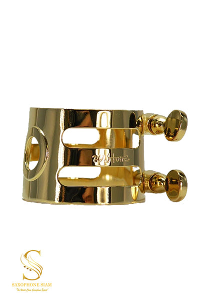 Ishimori Wood Stone Metal Alto Saxophone Ligature (Meyer HR Gold Plated)
