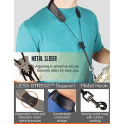 "Protec Leather ""Less Stress"" Neck Strap w/ Deluxe Metal Trigger Snap & Comfort Bar"