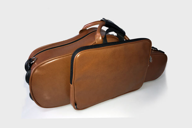 Wooden Curved Alto saxophone case  Brown - Royal Style