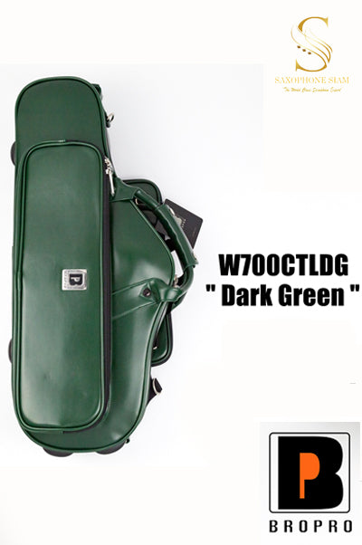 BROPRO Wooden Curved Alto saxophone case  Dark green - Royal Style