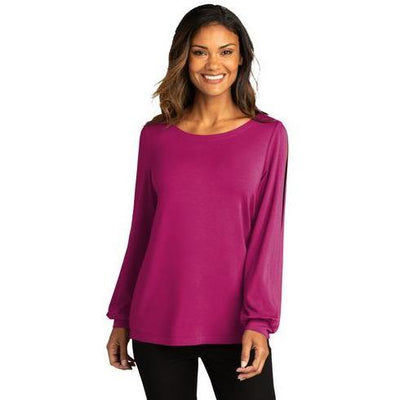 Port Authority ® Ladies Luxe Knit Jewel Neck Top - Forest River Apparel