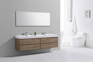 "Bliss 72"" Double Sink Wall Mount Modern Bathroom Vanity"
